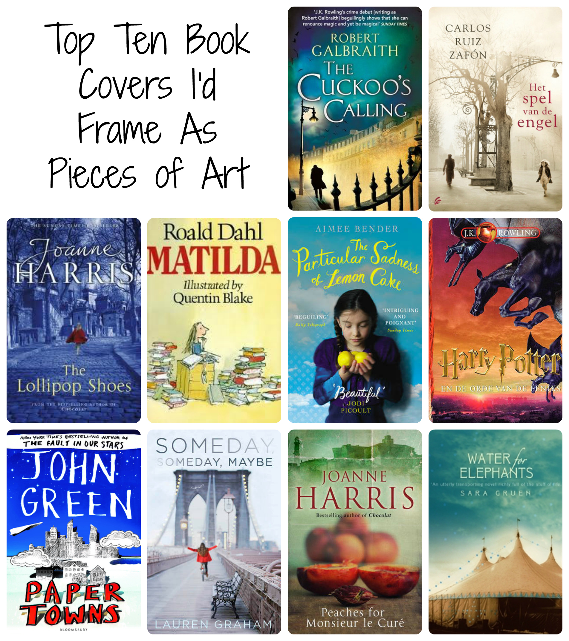 Collage Style Book Cover ~ Top ten book covers i d frame as pieces of art books